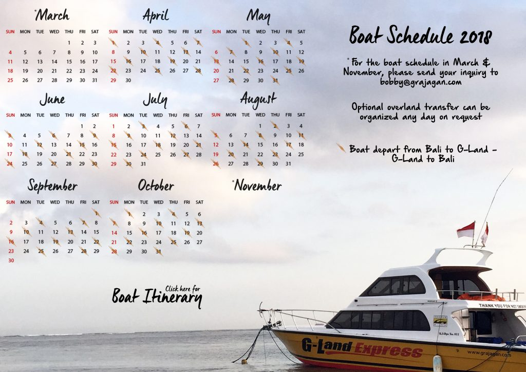 G-Land Bobby's Boat Schedule 2018