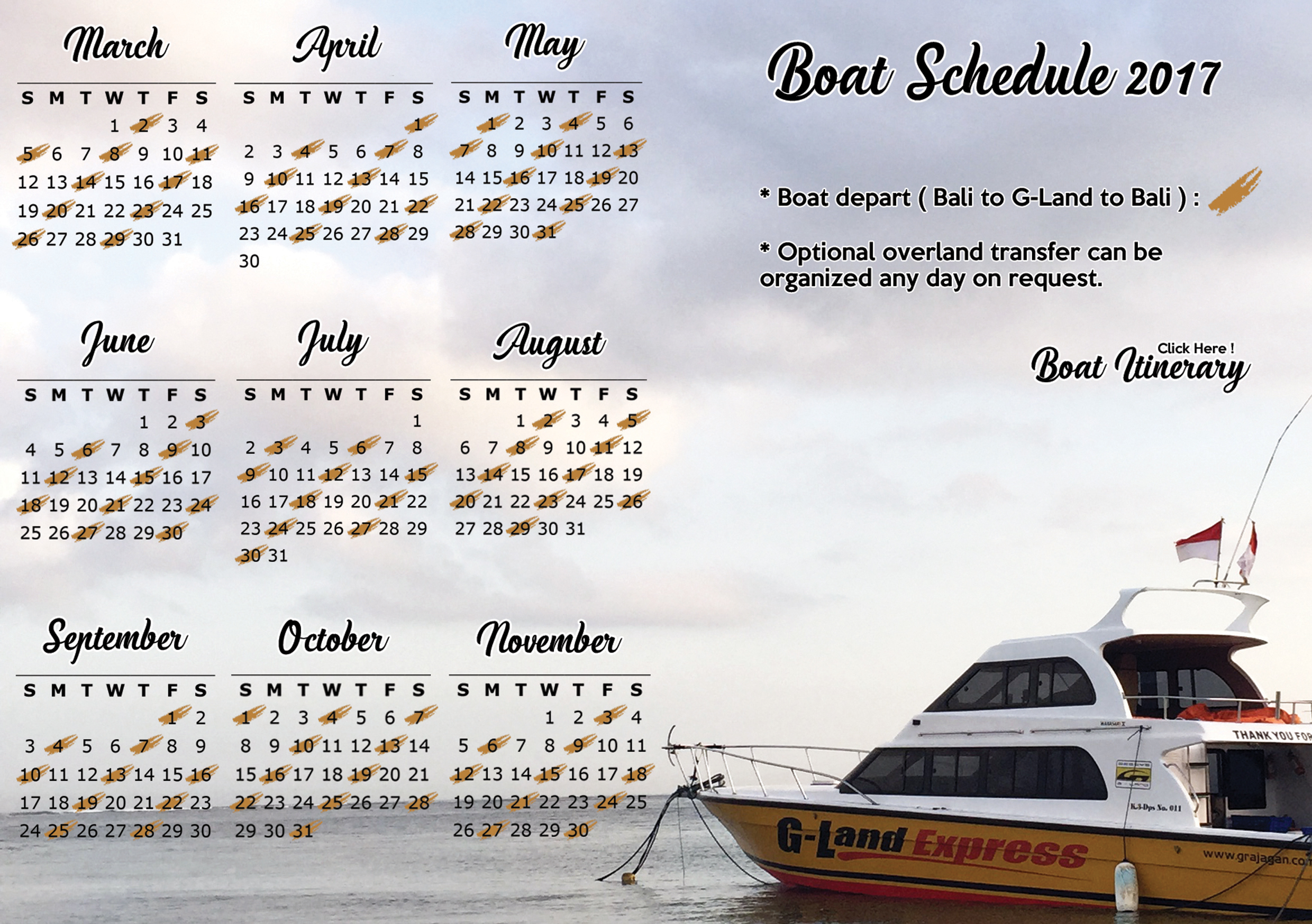 G-LAND BOBBY'S SURF CAMP BOAT SCHEDULE 2017