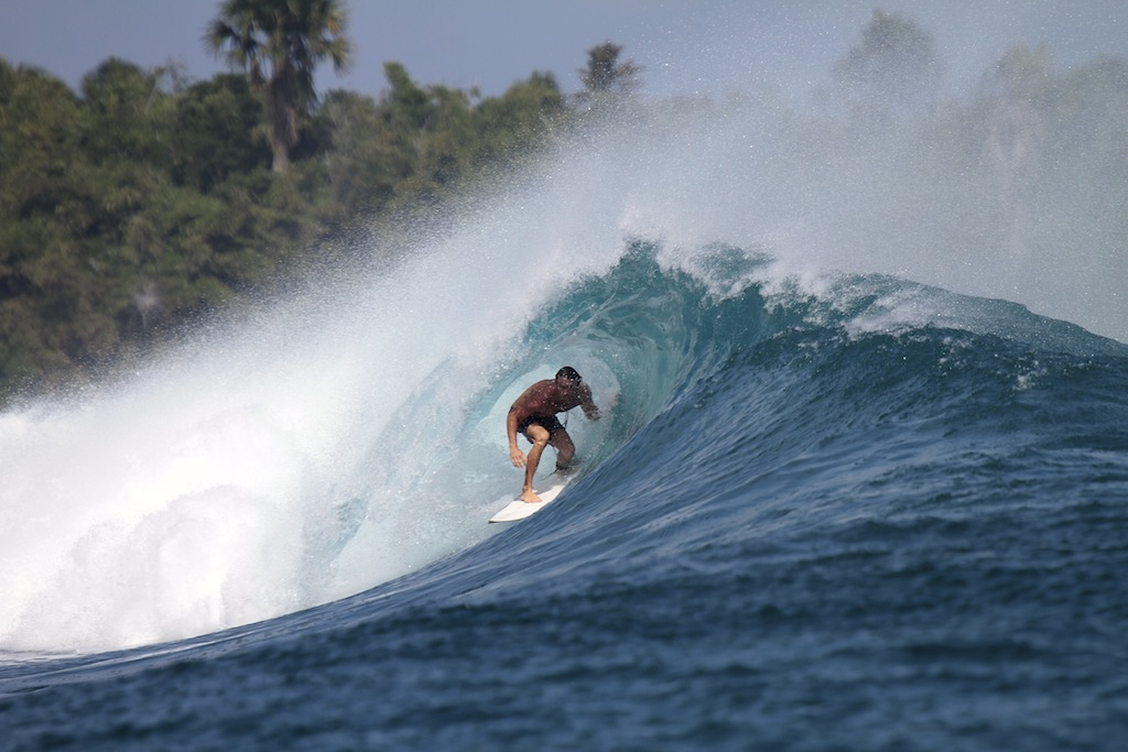 Surfing at G-Land in Java