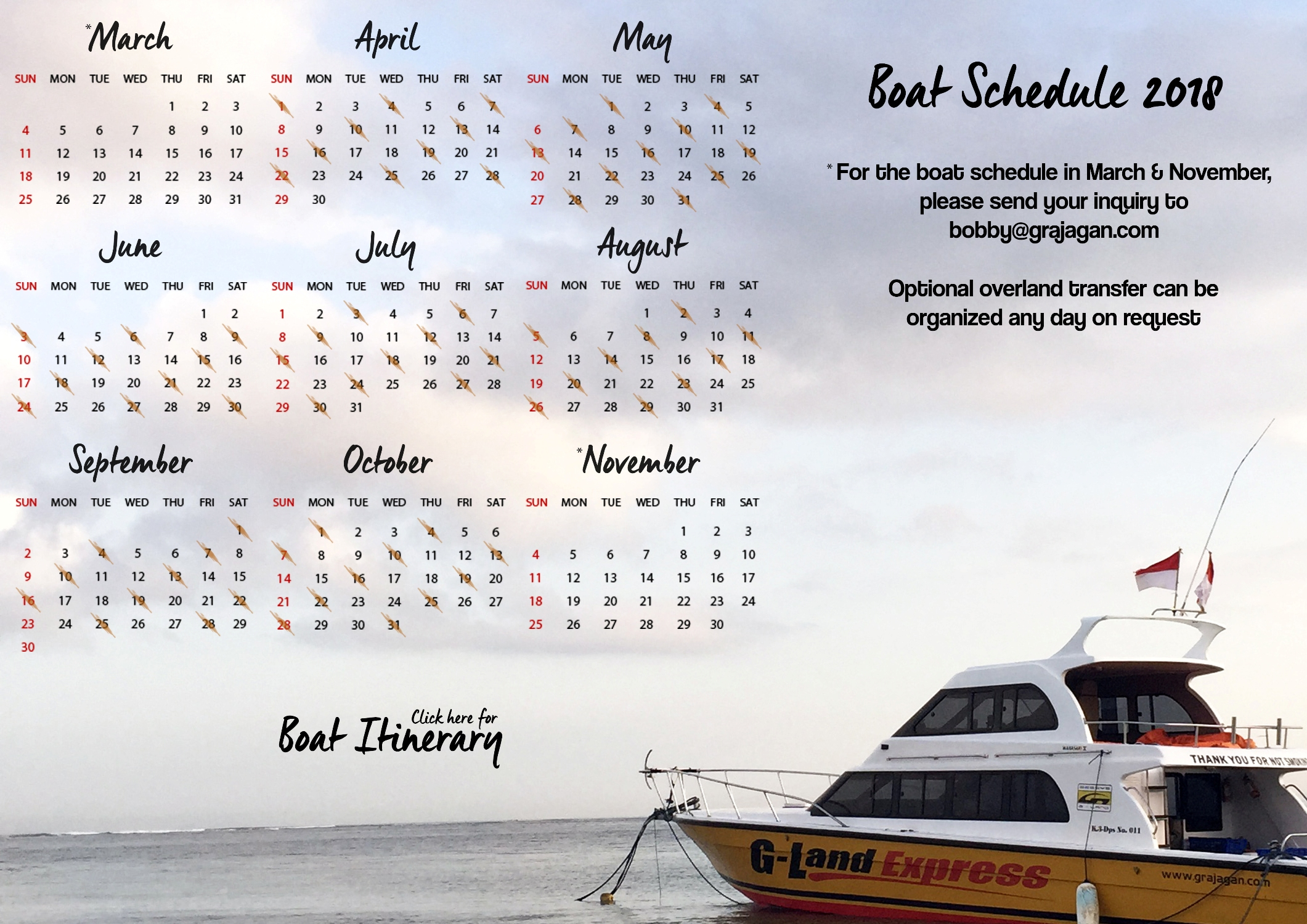 G-LAND BOBBY'S SURF CAMP BOAT SCHEDULE 2018