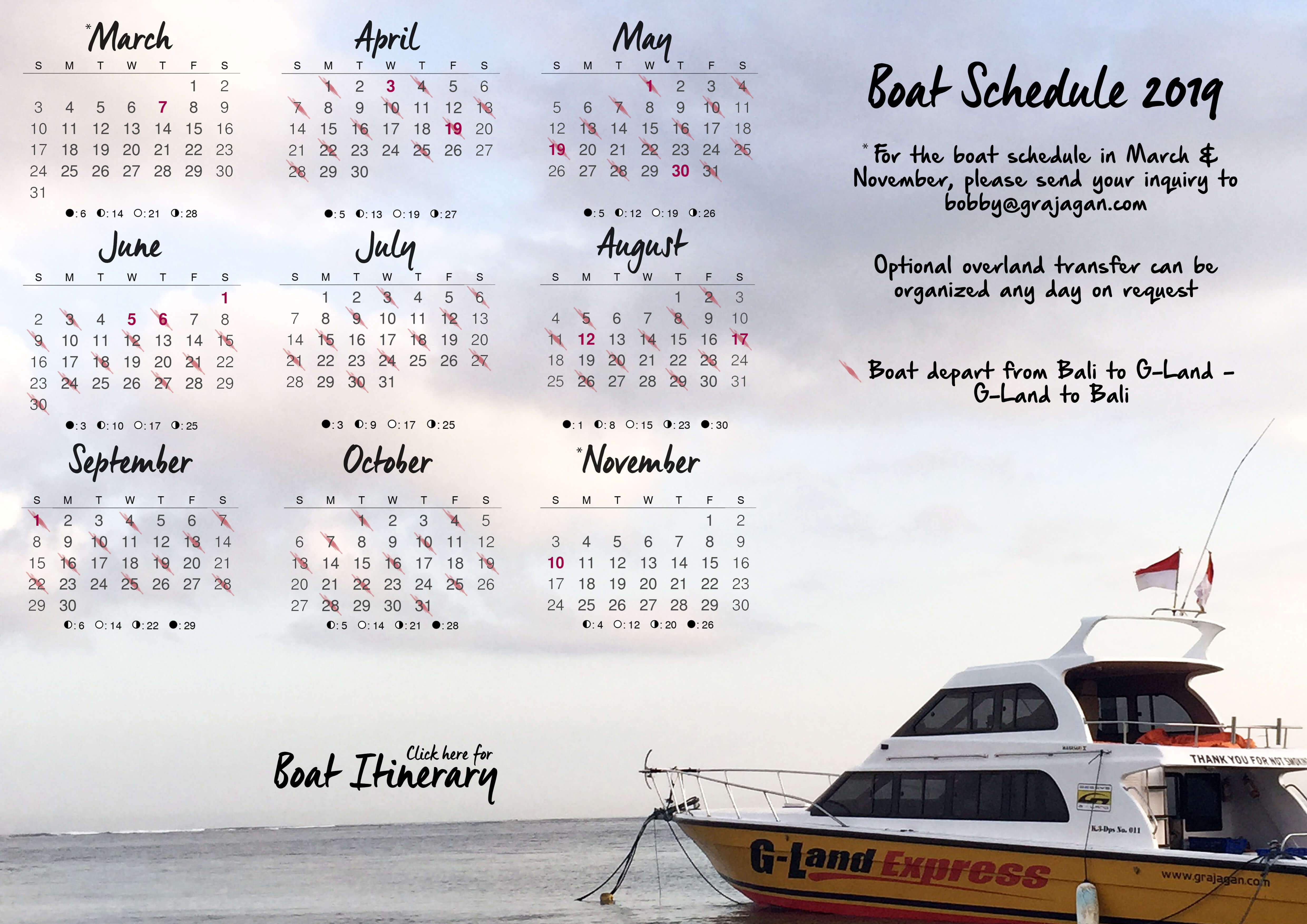 G-LAND BOBBY'S SURF CAMP BOAT SCHEDULE 2019