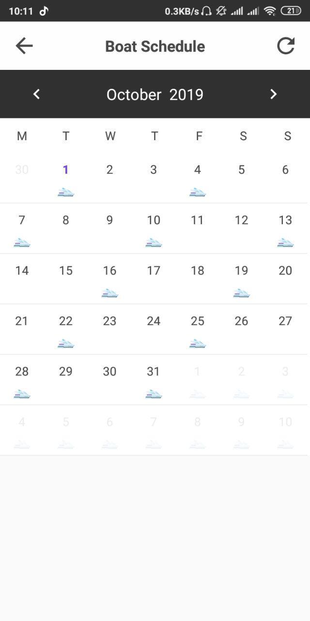 G-Land Mobile APP - Boat Schedule
