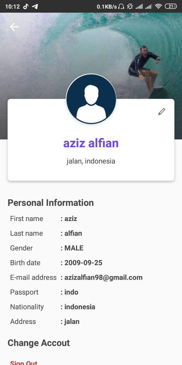 G-Land Mobile APP - My Profile