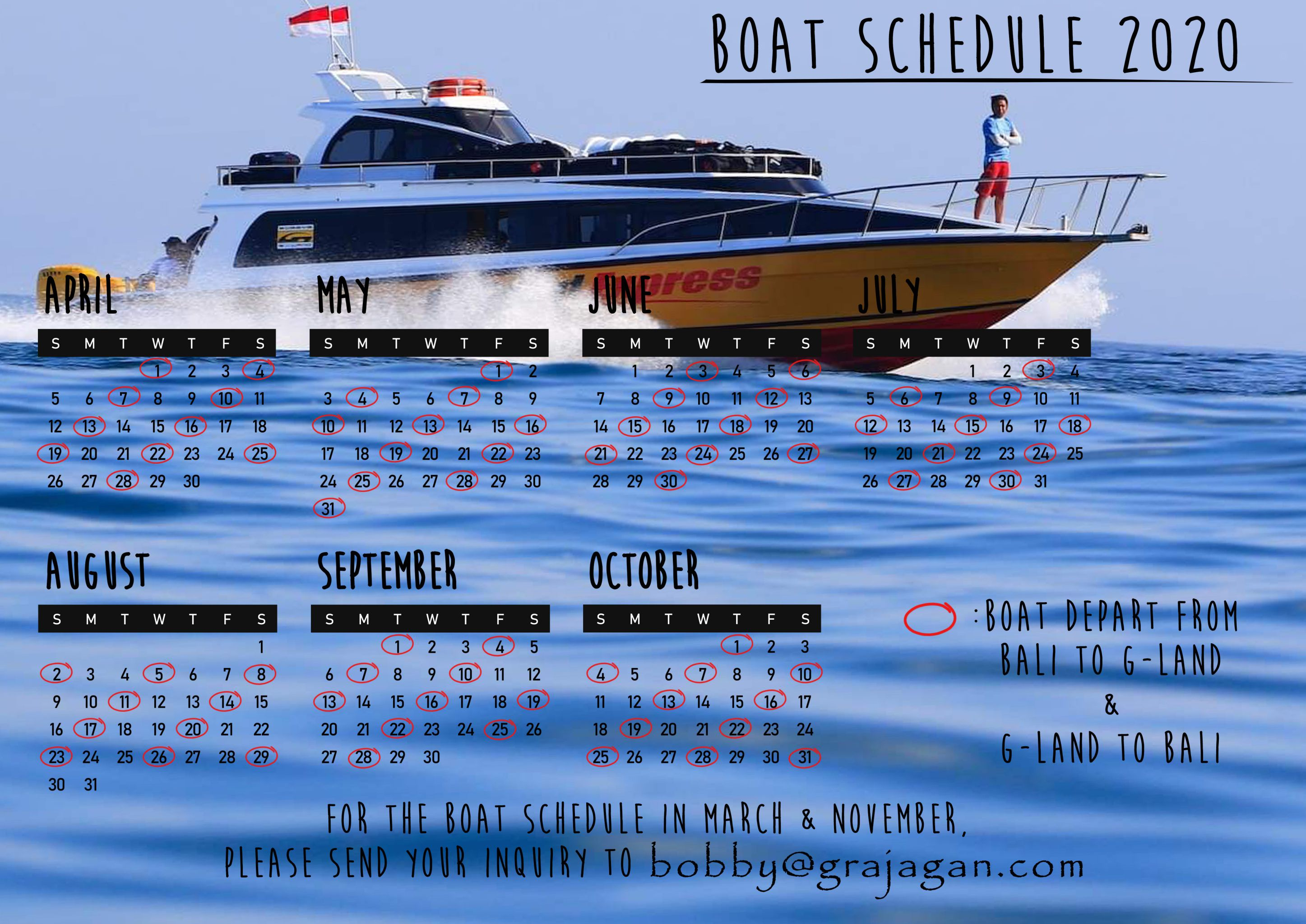 G-LAND BOBBY'S SURF CAMP BOAT SCHEDULE 2020